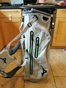 Mizuno K1-LO Golf Stand Bag, 1.2kg, White/Green, 4-Way, Rainhood, Very Good