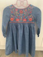 M&S embroidered Denim Dress 5-6
