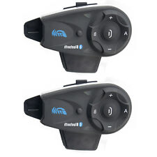 2x BT Moto Interfono Bluetooth Casco Interfonie Telecomando Wireless Intercom FM