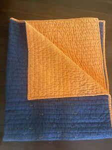 POTTERY BARN KIDS Reversible Comforter, Size TWIN, 100% Cotton, Orange BLUE EUC