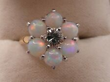 Q83 Ladies 18ct gold Opal and Diamond Flower design ring size K 1/2