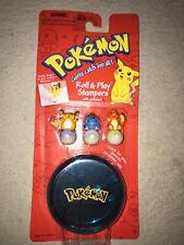VTG Pokémon 1998 Roll And Play Stampers W/Holder, Raichu, Charmander, Bulbasaur