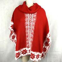 Black Rivet Red White Snowflake Sweater Poncho Size Large