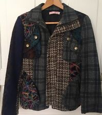 Pura Vida Woman's Polyester Multi Color Multi Fabric Patchwork Jacket Size M