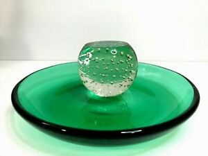 Vintage Erickson Art Glass Emerald Green Controlled Bubble Base Compote