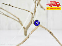 Quality 18K Silver Plated Turkish Greek Evil Eye Pendant Necklace Chain Plain