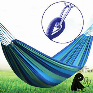 Outdoor Cotton Rope Hammock Hanging Swing Camping Canvas Bed Double / Single USA