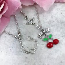 Tattoo Cherry & Bow Necklace, Rockabilly Pendant, Vintage Pin-Up, Swallow Charm