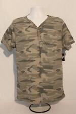 NEW Mens Henley Shirt Size Medium Camouflage Top Camo T Shirt Tee Pocket Casual