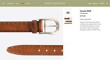 """Fabio Giovanni Lesina Italian Brushed Hand Stitched Calf Leather Belt 80cm 36"""""""