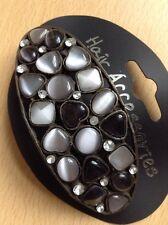 A Beautiful pierre ovale et strass Décoré Barrette à cheveux métal