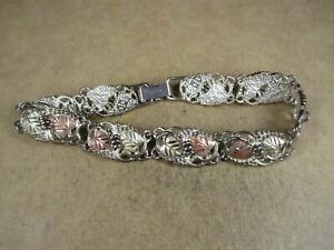"""Sterling Silver & 12K Black Hills Gold Bracelet, CCO Coleman, 7.75"""", 20.3g"""