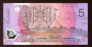 1995 Australian $5.00 Banknote UNC - 1st Prefix AA95 002518
