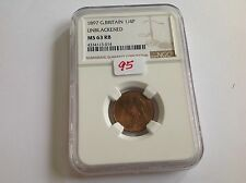 1897 Great Britain Farthing Unblackened NGC MS 63 Red Brown
