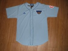 Vtg Chicago Cubs ADIDAS Cooperstown Blue Jersey Youth Large Baseball MLB!!