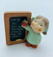 "Enesco Dear God porcelain figurine ""This isn't just any apple""  3x3"""