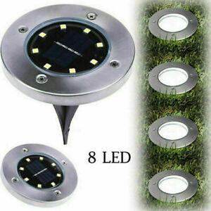 LED Solar Disk Lights Buried Light Outdoor Garden Under Ground Cool White IP65