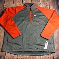 NFL Mens 4XL Denver Broncos 1/4 Quarter Zip Pullover Jacket Game Day NEW