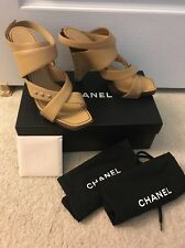 Chanel Beige Strappy High Heel Sandals Studded  39.5 With Box And Bags
