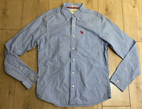 Abercrombie & Fitch Men's Casual Shirt Blue Striped Long Sleeve Large Cotton