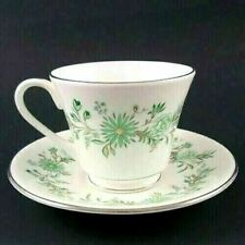 Aynsley China EMERALD ISLE Demitasse Cup And Saucer Set Green & White