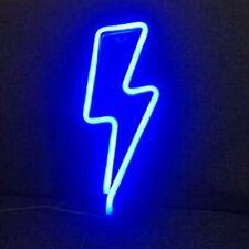Blue Neon Lightening Bolt Wall Light