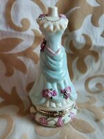"Vtg Porcelain Victorian Dress Form Trinket Box 4 "" Tall RARE!"
