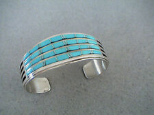 Auth.Native American Indian 4 Row Turquoise/Sterling Inlay Heavy Cuff Bracelet