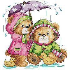 Free S&H 14 counted teddy bears aida Cross stitch kit 100 x 100 stitches KP144