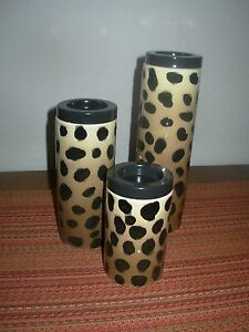 *NEW*  RETIRED GOLD CANYON CERAMIC LEOPARD TEA LIGHT TRIO CANDLE HOLDER PILLARS