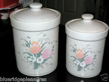 Set of Two Kitchen Canisters with Pink Tulips & White Flowers