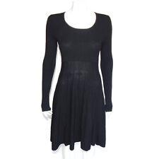 AUTUMN 100% CASHMERE Dress Black Ribbed Contrast Long Sleeve Medium - 9641