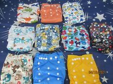 LOT OF 10 BRAND NEW REUSABLE BABY DIAPERS WITH INSERTS *CUTE DESIGNS*