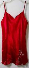 DELICATES WOMENS RED ROSE Lingerie Satin FLORAL Nightgown Slip NIGHTIE MEDIUM LN