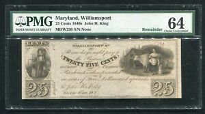 1840's 25 CENTS JOHN H. KING WILLIAMSPORT, MD OBSOLETE REMAINDER PMG UNC-64