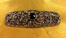 Vintage 925 Sterling Silver Onyx/Marcasite Gemstone Brooch Pin Fine Jewelry