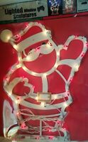 """Vintage Lighted SANTA 18"""" Window Decor Christmas Indoor/Out Hanging Holiday"""
