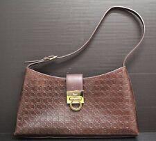 Salvatore Ferragamo Brown Leather Stamped Shoulder / Hand Bag Purse D21-2750