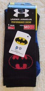 NWT Under Armour HG Men's Medium (4-8.5) Black Blue BATMAN Performance Socks