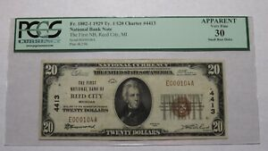 $20 1929 Reed City Michigan MI National Currency Bank Note Bill Ch. #4413 VF!