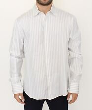 NWT $440 ERMANNO SCERVINO White Black Striped Regular Fit Casual Shirt IT54 / XL