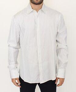 ERMANNO SCERVINO White Black Striped Regular Fit Casual Shirt IT54 / XL
