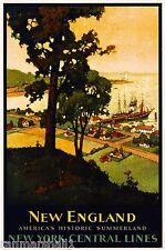 New England Boston America Vintage United States Travel Advertisement Poster