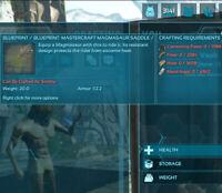 ark survival evolved pc pve 112.5armor Saddle  Mastercraft Magma Blueprint Bp