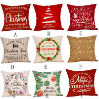 Merry Christmas Pillow Cases Linen Sofa Cushion Cover Home Decor Pillow Case-USA