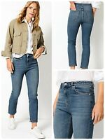 New M&S Cropped Jeans Stretch Ankle Mid Rise Blue Sz 6 - 24 RRP £35