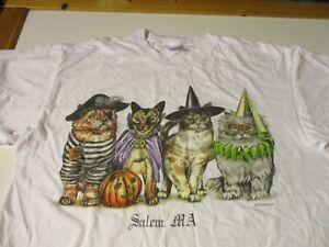 SALEM ,MA VINTAGE 2-SIDED HALLOWEEN CATS WITCH PIRATE DRACULA DAMSEL T-SHIRT XL