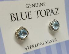 Genuine Blue Topaz GEMSTONE Authentic 925 Sterling Silver Women's Stud Earrings