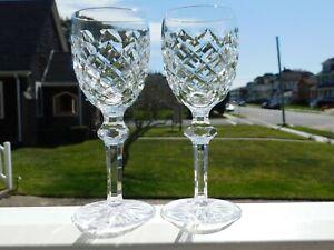 "2 WATERFORD CRYSTAL POWERSCOURT 6"" PORT WINE GLASS"