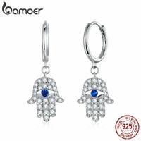 BAMOER Fine Women Stud Earrings Lucky Hands S925 Sterling Silver Pavé CZ Jewelry